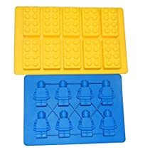 Brick Pattern Silicone Ice Cube Jelly Tray Maker & Bonus Mini Figure Ice Cube Jelly Tray Maker
