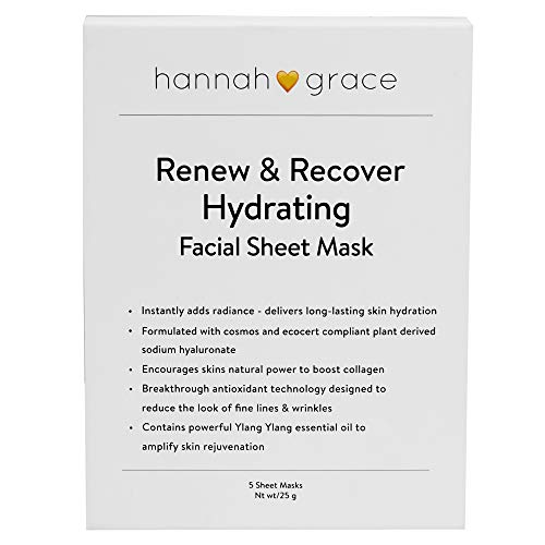 HG skincare renewing moisturizer sheet mask. Significantly reduces wrinkles & fine lines. Visibly plumps and refreshes for a healthy, naturally vibrant glow-5x face mask (Hanacure All In One Facial Starter Pack)