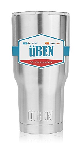 Tumbler 30 oz tumbler with leak splash proof lid, Double wall Vacuum Insulated Stainless Steel Tumbler by Uben