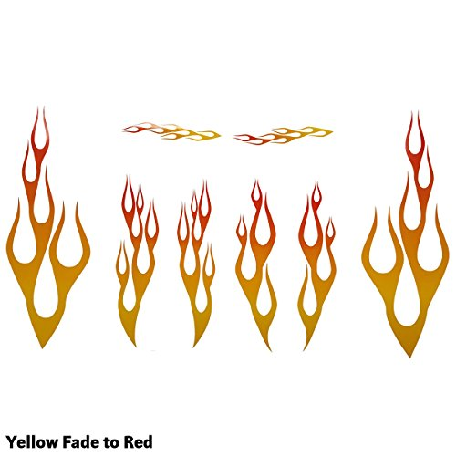 Wild Dingos LLC Full Color Flame Decal Kit Golf Cart, ATV, RC Truck, UTV, Motorcycle, Helmet Large (Yellow Fade to RED)