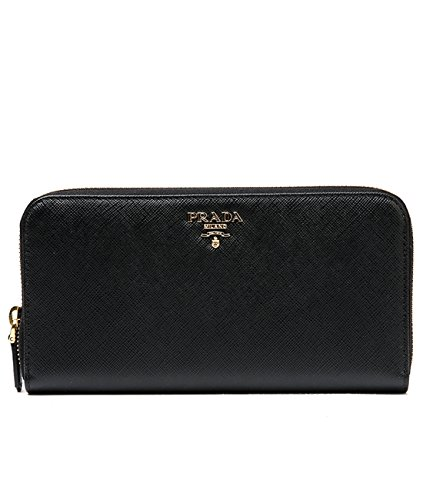 Wiberlux Prada Women's Metal Logo Detail Zip-Around Real Leather Long Wallet One Size Black (Prada Long Wallet)