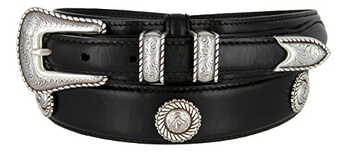 Western Leather Concho Belt (Mens Silver Horse Head Concho And Genuine Leather Ranger Belt)