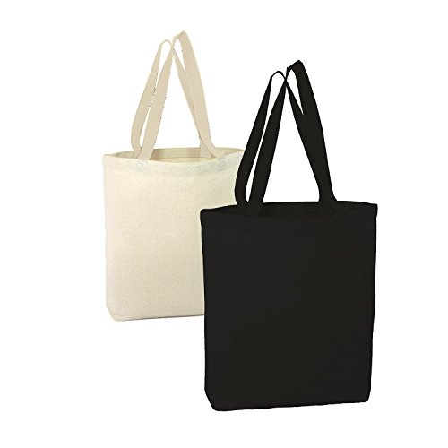 BagzDepot Heavy Canvas Promotional Tote Bags, Natural or Black, 15W x 15H x 3D (24, Mix)