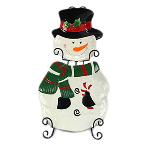 Youngs Ceramic Snowman Plate Set with Metal Display Holder