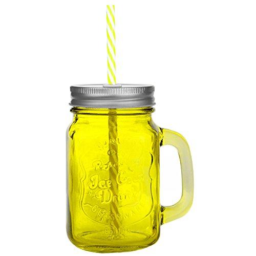 Trinkbecher mit Deckel und Strohhalm aus Glas - Trinkglas in Vintage - Retro - Cocktailglas Füllmenge : 450ml / Gelb