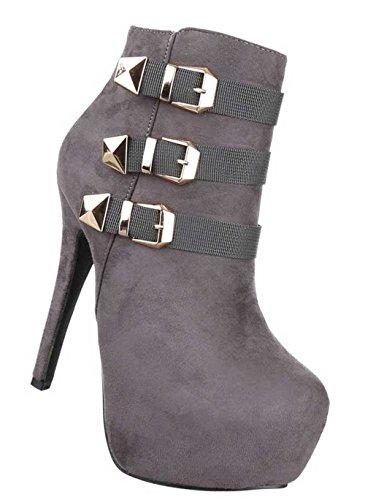 Damen Stiefeletten Schuhe Boots Mit Deko Schwarz Grau