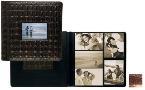 NILE BROWN crocodile print fine leather #113 window album with 5-at-a-time pages by Raika - 4x6