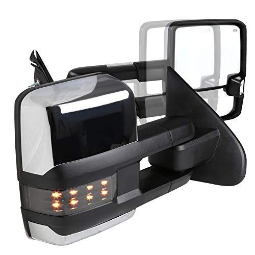 (Silverado Sierra POWER FOLDING+HEAT Extended Tow Mirrors w/Smoke Lens LED Signal)
