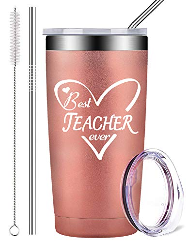 Best Teacher Ever - Stainless Steel Mug Tumbler with Lid and Straw, Insulated Travel Coffee Cup Teachers' Day Birthday Gifts, Teacher Retirement Gift for Her Kids Teacher Women Men (20 oz, Rose Gold)