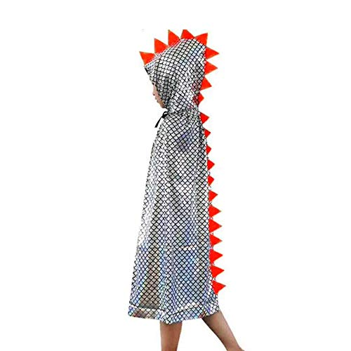 Attitude Studio Metallic Spike Cape, Hooded Scale Cloak, Dragon Dinosaur Medieval Accessory for Dress Up Pretend Play Fantasy Robe, 40 Inch One Size Halloween Costume for Kids Boys Girls - Silver]()