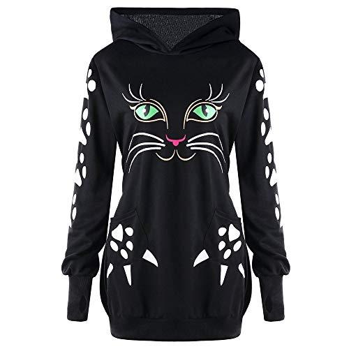 Black Hood Wgysqcao Donna nbsp; Sleeve Casual Hooded Print Cat nbsp; Donna Felpa nbsp;spring Ears Sweatshirt Long B7qx7Erw