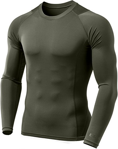 Tactical Under Armour - CQR CQ-TUD101-TGN_X-Large Men's Long Sleeve Mesh-Panel Compression Cool Dry Baselayer Top TUD101