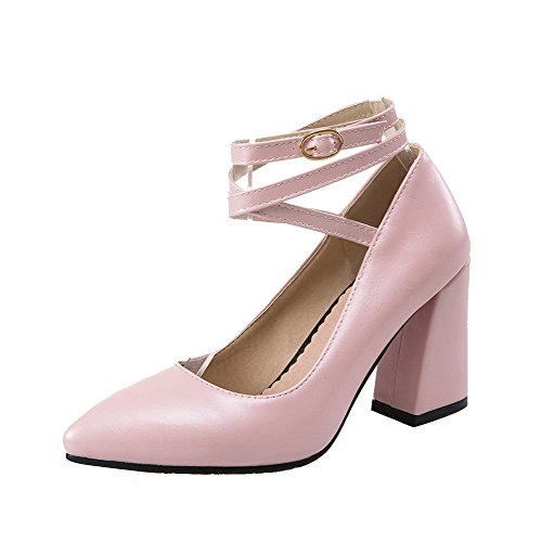 35 Solid Toe Heels Pink PU Closed AllhqFashion High Buckle Shoes Pumps Women's qBx4qEPX