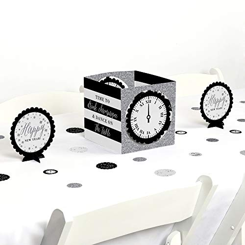 Big Dot of Happiness New Year's Eve - Silver - New Years Eve Party Centerpiece & Table Decoration Kit