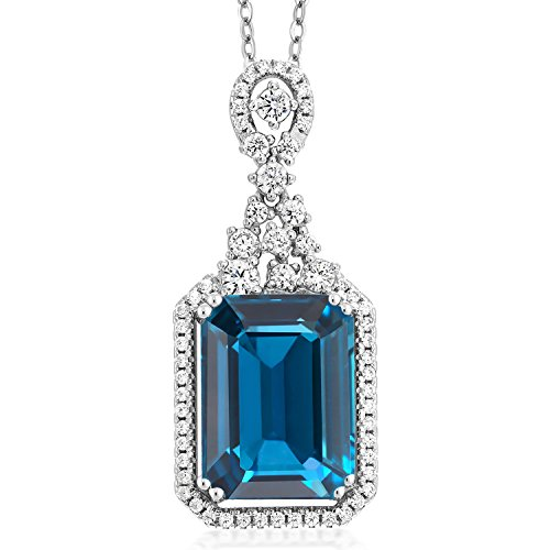 Gem Stone King London Blue Topaz 925 Sterling Silver Pendant Necklace Gemstone Birthstone with 9.10 Ct Emerald Cut