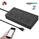 quirky pivot power genius - WiFi Smart Power Strip, Tonbux Surge Protector with 4 USB Charging Ports and 4 Smart AC Plugs for Multi Outlets Power Socket Extension Cord Works with Amazon Echo & Google Home (Black)