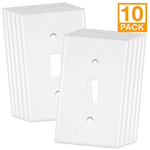 Enerlites 8811-W-10PCS Toggle Wall Plate, Standard Size 1-Gang, Unbreakable Polycarbonate, White (10 Pack) (Plastic Switchplate)