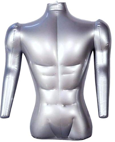 Inflatable Male Half Body Mannequin with Arms Torso Top Shirt Dress Form Dummy Model ()