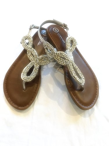 Girls Thong Sandals with Silver Jewel Embellishment