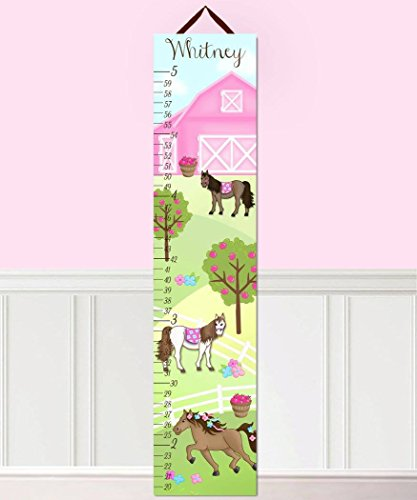 Kids Canvas GROWTH CHART Horse Pony Barnyard Girl Bedroom Baby Nursery Wall Art Growth Chart GC0300 by Toad and Lily