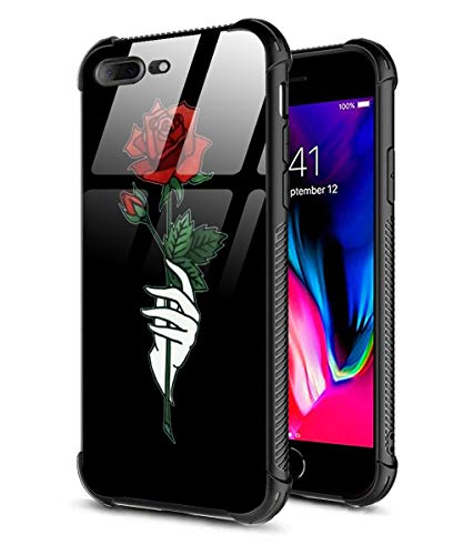- iPhone 8 Plus Case,iPhone 7 Plus Case,Slim Fit Tempered Glass Back Pattern Design for Girl Women+Soft Silicone TPU Shock Absorption Bumper Protective Case Compatible iPhone 7/8 Plus Rose in Hand