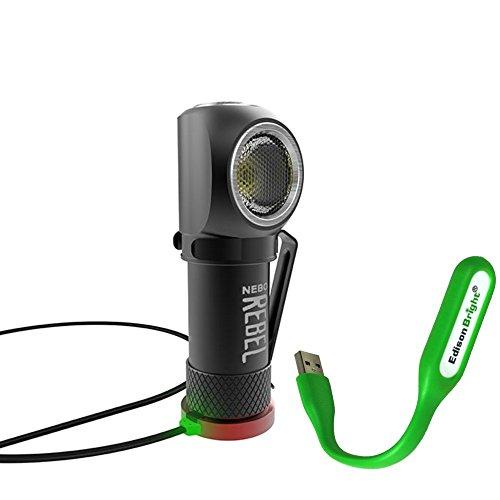 Nebo Rebel 240 lumen LED headlamp/work light 6691 USB rechargeable with magnetic base, with EdisonBright USB powered reading light bundle by EdisonBright (Image #6)
