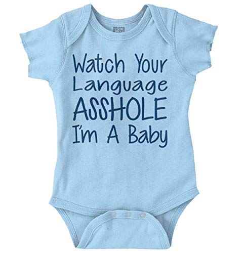 Brisco Brands Watch The Language Asshole Cursing Baby Romper Bodysuit Light Blue