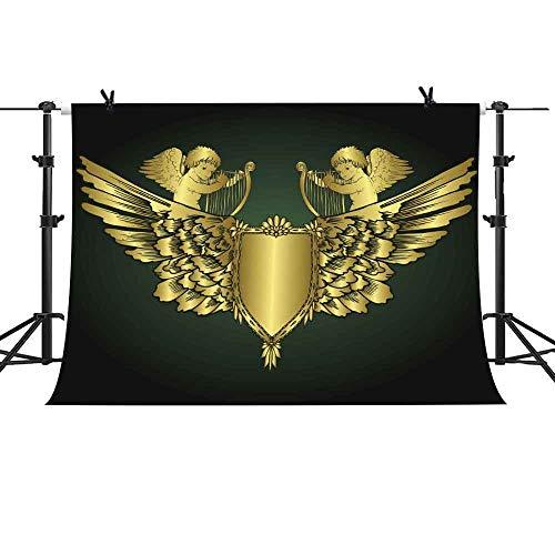 MME Black Background Golden Cherub Newborn Baby Shower Birthday Party Decoration Prop Banner 10x7ft LXME940