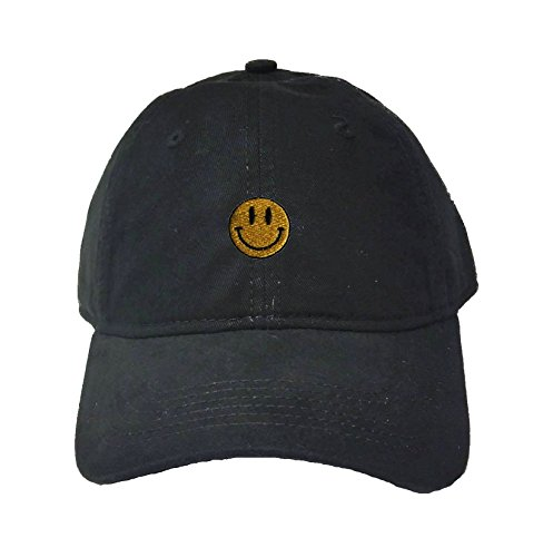 (Go All Out Adjustable Black Adult Smiley Face Embroidered Deluxe Dad Hat)