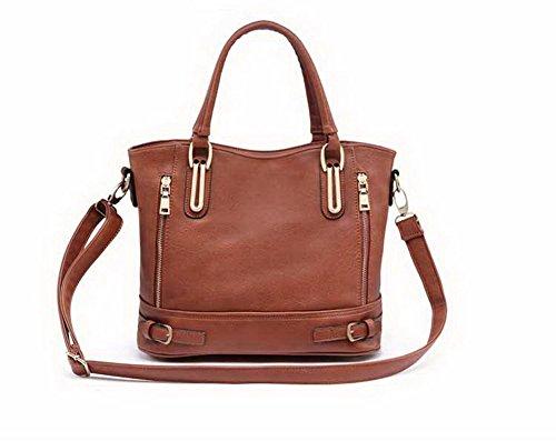 Allhqfashion Women's Casual Party Zipper Bags Hand Shoulder Bag Brown
