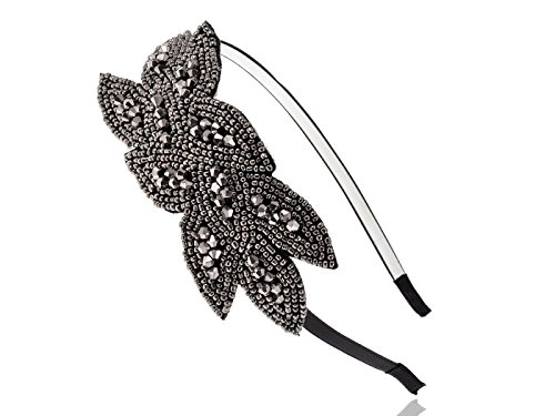 [Alilang Flapper Beaded Floral Leaf Headband Black Gunmetal] (Cute Unique Costumes)