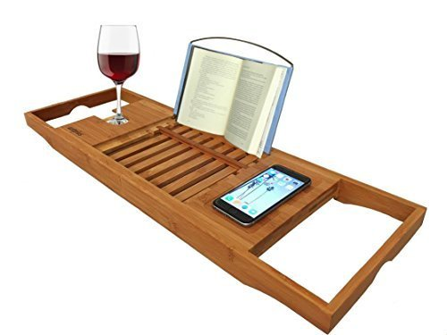 Bathtub Caddy Bamboo Bathtub with Extending Sides, Reading Rack, Tablet Holder, Cellphone Tray and Wine Glass Holder by AZT Plus
