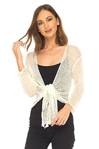 SHU-SHI Womens Sheer Shrug Tie Top Cardigan Lightweight Knit,Off White,One (Fair Night Light)