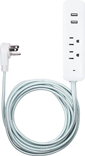 Cordinate Designer USB Charging Station Extension Cord, Power Strip Surge Protector, 2 Outlets, 2 USB Ports, Extra Long 10 Ft Cable with Flat Plug, Braided Cord, 2.4A Fast Charge, Mint/White, 41882