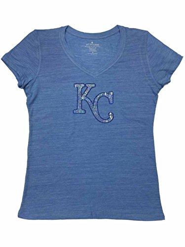 - Soft As A Grape Kansas City Royals SAAG Women Light Blue Sequin Burnout V-Neck T-Shirt (XL)