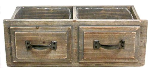 Rustic Decorative Distressed Real Wood Planter 13 Inches With Hard Liner (Double Drawer)