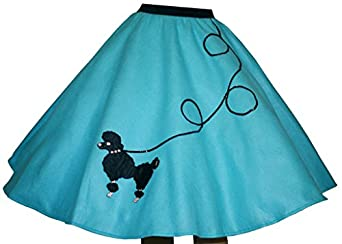 Retro Skirts: Vintage, Pencil, Circle, & Plus Sizes 3 BIG NOTES - Adult Aqua Blue FELT Poodle Skirt $31.95 AT vintagedancer.com