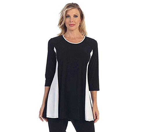 Caribe Women's Black Tunic with White Side Trim Plus Size (1X)
