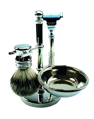 - Golddachs Germany Shaving Set, Mach3 Handle, Finest Badger Brush, Soap Bowl, Silver Optics Stand, Made In Germany, 4 Piece
