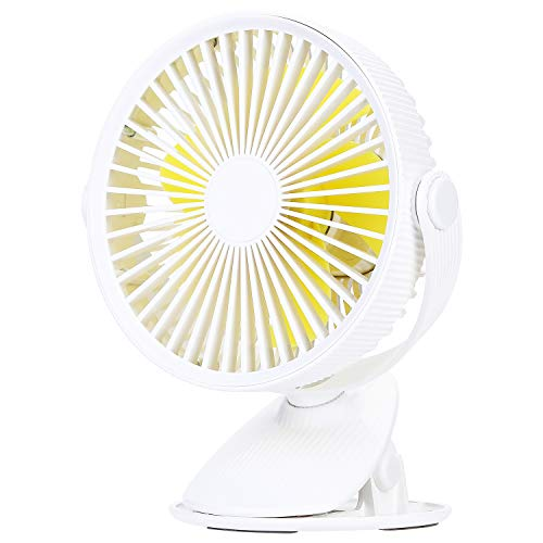 Clip Desk Office - COSSCCI Small Desk Fan with Clip, Mini USB Personal Fan Portable Electronic Battery Operated Cooling Fan for Stroller Outdoor Home Office Bedroom (White)