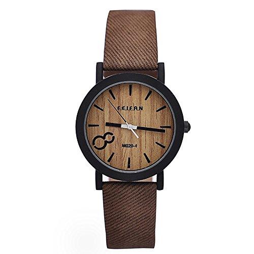 High Quality Brand Vintage Women Men Big 8 Dial Wood Print Leather Quartz Watch Japan Movement Coffee