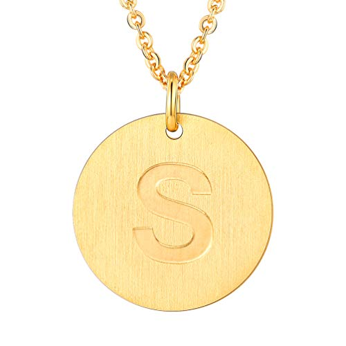 (PROSTEEL Initial Letter Necklaces 18K Plated Alphabet S Personalized Men Women Jewelry Gift Minimalist Layering Layered Gold Coin Necklace)