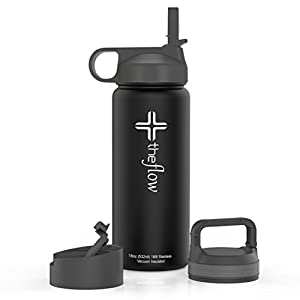 the flow Stainless Steel Water Bottle Double Walled/Vacuum Insulated - BPA/Toxin Free – Wide Mouth with Straw Lid, Carabiner Lid and Flip Lid, 32 oz.(1 Liter) (Black, 18oz)