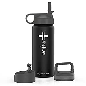 The Flow Stainless Steel Water Bottle Double Walled/Vacuum Insulated - BPA/Toxin Free – Wide Mouth with Straw Lid, Carabiner Lid and Flip Lid, 18 oz.(500ml) (black)