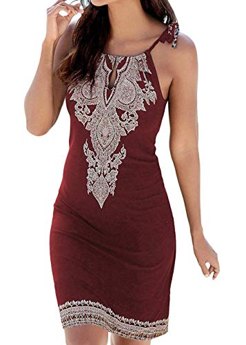BLUETIME Women's Summer Halter Neck Boho Print Dresses Sleeveless Casual Mini Beachwear Sundress (Wine Red, S) ()
