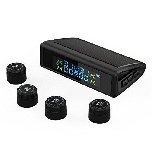 HiGoing Tire Pressure Monitoring System, Solar Wireless TPMS Built-in 450mAh Battery, 4 External Sensors (0-8.0 Bar/0-116 Psi, 49-85℉/65-85℃), 6 Alarms Real-time High Monitor Temperature & Pressure