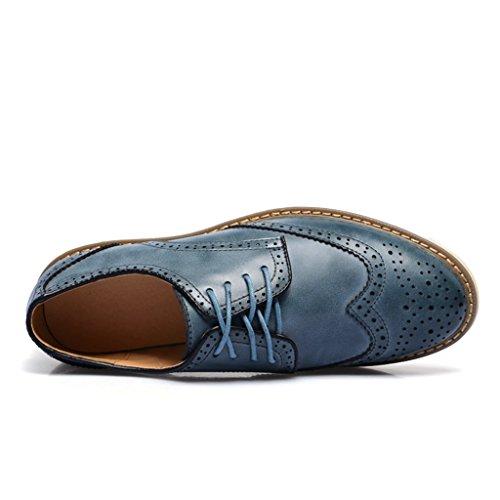 Chukka Travail Chaussures Minitoo Bleu De Et oxford À bottes Men's Casual Cuir En Lacets 77wUzqvr