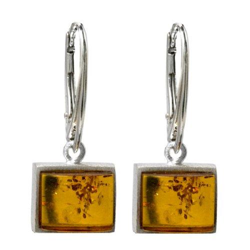Honey Amber Sterling Silver Rectangular Small Leverback - Earrings 3 Designer Stone