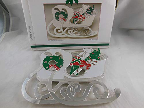 (Vintage Wm A Rogers Holiday Sleigh Trivet Silver Plated Metal with)