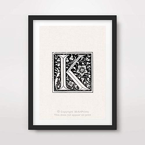 K LETTER INITIAL ART PRINT Poster Ornate Decorative Text Name Surname  Typography Word Alphabet Graphic Design Black White Home Decor Wall Picture  A4 A3 A2 ...
